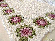 Lanas hilos gift set flower border blanket by valarie Crochet Flower Squares, Crochet Blocks, Granny Square Crochet Pattern, Crochet Granny, Crochet Flowers, Knit Crochet, Crochet Afghans, Crochet Motifs, Crochet Blanket Patterns