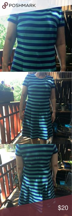 Boden Dress Lined blue/blue striped dress. Reposh. Heavier knit fabric perfect for cold office. Size 10 Boden Dresses