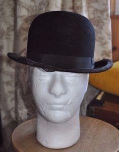Antique-Vintage-Selecta-034-Halfsize-034-Black-Bowler-Hat-7-1-16-Circumf-56cm