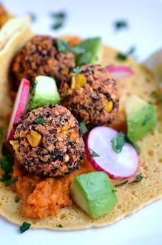 Chili Quinoa-Bean Bites (with Chipotle Mashed Sweet Potatoes) | coconutandberries.com