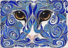 Reproduction ACEO Blue Swirl Cat Painting via Etsy: by Colleen Olsen