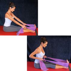 Learn a series of resistance band exercises you can use in an upper body workout. These exercises, taught by Pilates instructor Lisa Hubbard, focus on the biceps and triceps as well as the shoulders, back and core.: Rowing with the Restance Band Best Exercise Bands, Arm Workout With Bands, Band Workouts, Pilates Band, Pilates Moves, Pop Pilates, Pilates Video, Pilates Instructor, Pilates Yoga