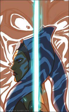 Ahsoka Tano and Darth Vader fan art from Star Wars Rebels