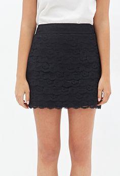 Scalloped Lace Mini Skirt | Forever 21 - 2000117255