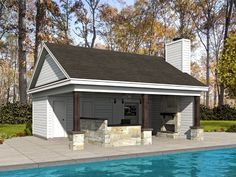 Pool house plan with large storage area includes a half bath, walk-in pantry, half bath, covered lanai with fireplace, and a bar and grill combo. Pool Deck Plans, Pool House Plans, Gazebo Plans, Building A Garage, Building Plans, Building A House, Narrow Lot House Plans, House Plans And More, Carriage House Garage