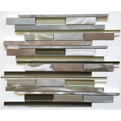Metallic Grey Multicolor Random Strip Glass and Metal Tile in Linear Glass Tile Mosaic Design Kitchen Backsplash, Countertop Redo, Kitchen Reno, Glass Mosaic Tiles, Mosaic Designs, Metal Mesh, Bath Remodel, Reno Ideas, Metallic