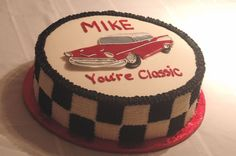Classic Bel-Air Car Cake We made this cake for a gentleman who loved the 57' Chevy Bel-Air. The plaque is run-sugar on buttercream.