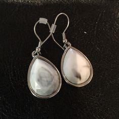 Earrings White and grey marbled earring set. Jewelry Earrings