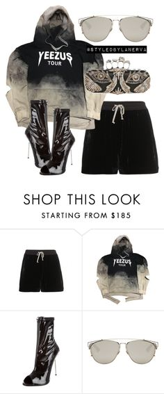 """Untitled #801"" by amanda-lanerva ❤ liked on Polyvore featuring Rick Owens, Giuseppe Zanotti, Christian Dior and Alexander McQueen"