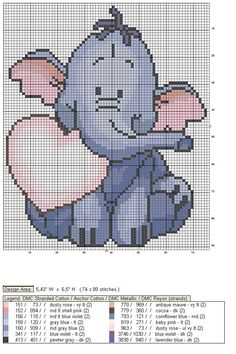 Schematic cross stitch elephant from winnie the pooh