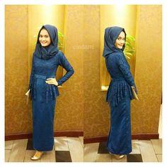 Sapphire blue hijab dress for Mrs @derryclaudia Alhamdulillah bisa langsung pas…