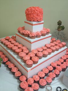 Coral cupcakes by JSweets-Julie Lawson Wedding 7-20-13