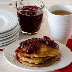 Apple Pancakes with Cranberry Syrup Recipe Breakfast and Brunch with syrup, maple syrup, apple juice, cranberries, pancake, buttermilk pancake mix, cinnamon, applesauce, water