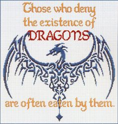 """""""Deny Dragons"""" Cross Stitch Pattern from Gryphon's Moon!"""