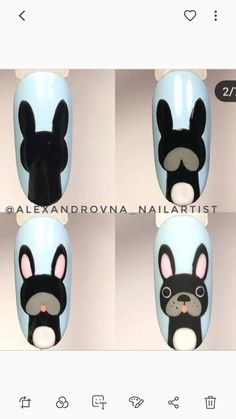 With fur With fur Cartoon Nail Designs, Animal Nail Designs, Animal Nail Art, Nail Art Designs Videos, Nail Art Videos, Simple Nail Art Designs, Nail Art Hacks, Nail Art Diy, Cool Nail Art