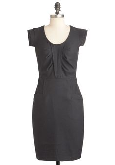 Work of Architecture Dress - Grey, Solid, Work, Sheath / Shift, Sleeveless, Fall, Mid-length, Vintage Inspired