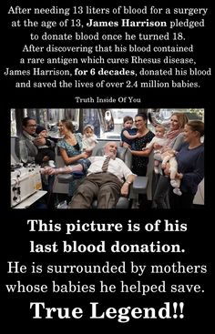 After needing 13 liters of blood for a surgery at the age of James Harrison pledged to donate blood once he turned After discovering that his blood contained a rare antigen which cures Rhesus disease, James Harrison, for 6 decades, donated his bloo Sweet Stories, Cute Stories, Beautiful Stories, News Stories, James Harrison, Touching Stories, Heart Touching Story, Human Kindness, True Legend