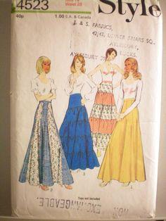 "UNCUT Vintage Style 4523 Sewing Pattern Maxi Skirts Size 14 Waist 28"" | eBay"