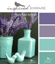 Inspired Colors - Painted Bottles by inspired by..., via | http://bedroom-gallery22.blogspot.com