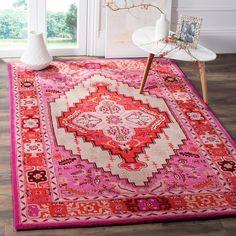 Shop Safavieh Handmade Bellagio Gracia Modern Oriental Wool Rug - On Sale - Overstock - 13324990 - 5' x 8' - Red Pink/Ivory