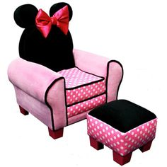 Accent Chairs: Kids Upholstered Chair and Ottoman Set: Disney Minnie Mouse Chair Kids Sofa Chair, Chair And Ottoman Set, Toddler Sofa, Toddler Girls, Mickey Mouse Bedroom, Minnie Mouse Baby Room, My New Room, My Baby Girl, Girly Girl