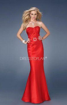 Fantaisie élégant bretelles Unique longue robe de bal en taffetas rouge Sash sirène