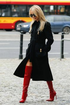 Over the knee red patent boots