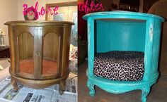 End table turned into a dog bed?!  GENIUS!!  You could do this for any small pet for your home.  I would try this for my cats (if i had the space) and line the inside with the scratching post material so they have it in there too!  Awesome!