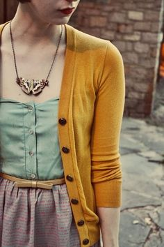 Plain Mustard Cardigan with Belted Skirt and Button Blouse- so very french :) Love