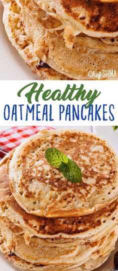 Healthy Oatmeal Pancakes | Super healthy breakfast idea... Oatmeal <3 Oatmeal Pancakes, Foodies, Breakfast, Healthy, Ethnic Recipes, Oat Pancakes, Morning Coffee, Morning Breakfast