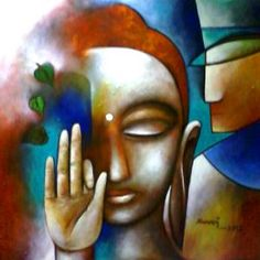 The artist portrays that of all the ways in which Buddha helps living beings, the supreme way is by emanation as a Spiritual Guide. Through his or her teachings