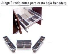 Jg.3 Recip. P/cesto Bajo Freg. Gris Mod.90- Ferreteria El Carpintero - Experto en Quincallería