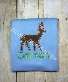 A personal favorite from my Etsy shop https://www.etsy.com/listing/456307320/personalized-deer-shirt-personalized