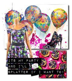 """Splatter Birthday"" by flirtydzines ❤ liked on Polyvore featuring paintsplatter"