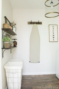 Industrial Laundry Room Reveal A rustic industrial style laundry makeover with lots of easy DIY decor ideas!A rustic industrial style laundry makeover with lots of easy DIY decor ideas! Laundry Room Tile, Laundry Decor, Farmhouse Laundry Room, Laundry Room Organization, Laundry Room Design, Organization Ideas, Storage Ideas, Laundry Baskets, Storage Shelves
