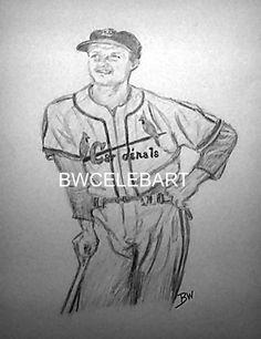 STAN MUSIAL ORIGINAL PENCIL DRAWING  BASEBALL  GREAT CARDINALS #Realism Pencil Drawings, Art Drawings, Sports Drawings, Cardinals, Baseball, The Originals, Pencil Art, Art Paintings
