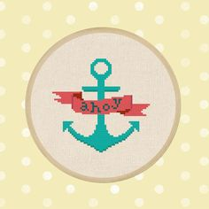 Ahoy Banner. Anchor. Nautical Cross Stitch PDF by andwabisabi, $3.50