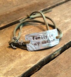 hand stamped quote bracelet with charm family is my anchor, wrap bracelet by Bstamped, $17.00
