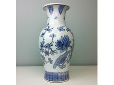 Large 14 Vintage Chinese Vase Large Blue White Silver by CurioBoxx