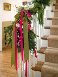 Two-toned ribbon ties could become a cool color splash on an evergreen swag.