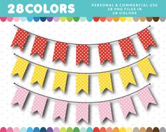 Polka dots banner clipart in 28 colors, Bunting Banner, Polka Dots, Clip Art, Digital, Paper, Flag, Stock Photos, Colors, Collection