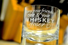 "2 Double Old Fashioned Rocks Glasses - Etched - ""Keep Your Friends Close & Your Whiskey Closer"""