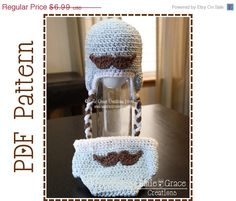 ON SALE Mustache Hat and Diaper Cover by EmieGraceCreations, $4.89