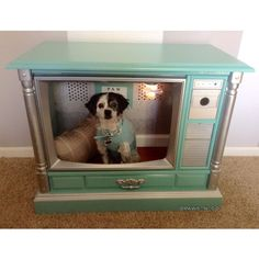TIFFANY AND COMPANY INSPIRED DOG BED / DOG HOUSE MADE FROM VINTAGE TV