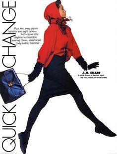 """Quick Change"", ELLE US, Nov 1985 Yasmin Le Bon by Gilles Bensimon"