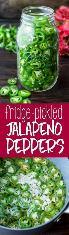 These easy peasy Fridge Pickled Jalapeño Peppers are crazy addictive and taste great on EVERYTHING! Skip the store and make your own pickled peppers at home! #pickled #peppers #jalapenos #vegetarian
