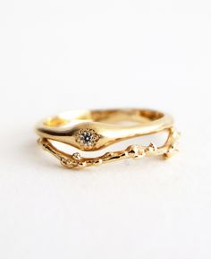 R001 14K Classic Solitaire Diamond Ring + R004 14K Branch Band  Handmade jewelry by n+a new york
