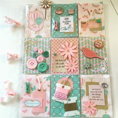 Teal and pink pocket letter | docrafts.com