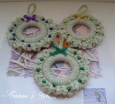 Crochet ring mini wreath decorations