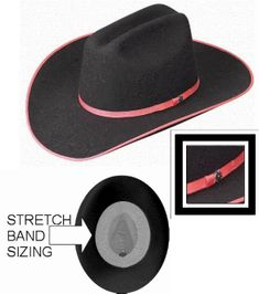 5507f2af719 This Kids  Brittany  black wool hot pink trim cowgirl hat is made in the